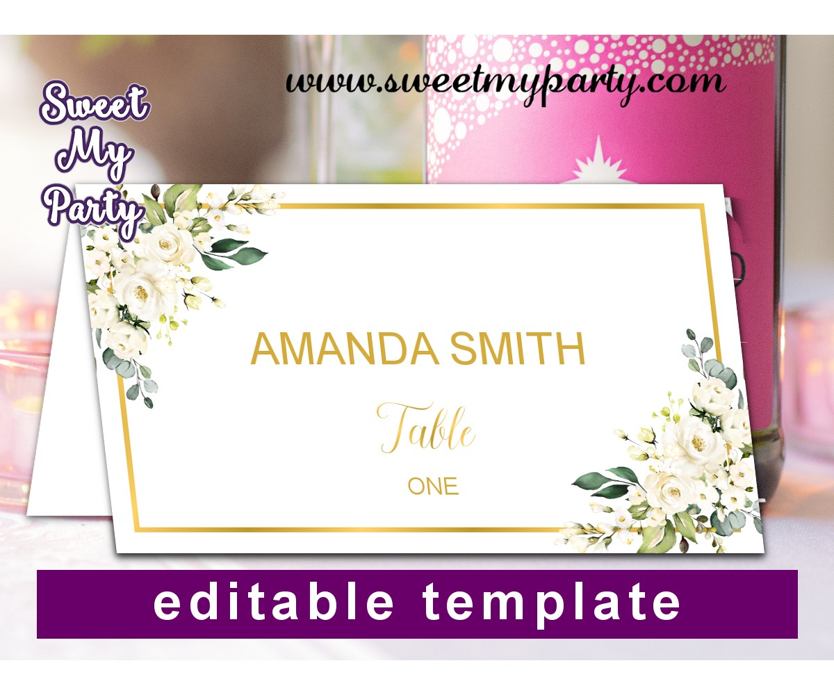 Ivory Roses Escort Crads template,Cream Roses Place Cards template,(123b)